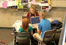 Students work together in the common area at Temple Hall