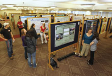 Presentations are set up at the Undergraduate Research Day